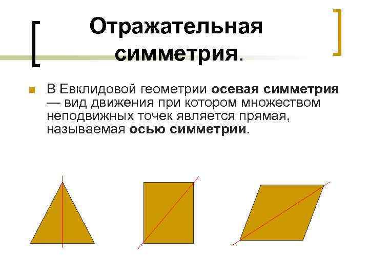 Отражательная   симметрия.  n  В Евклидовой геометрии осевая