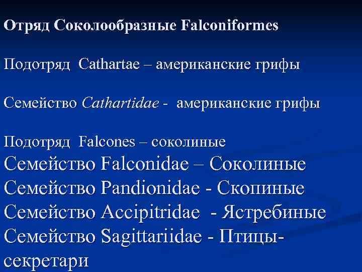 Отряд Соколообразные Falconiformes Подотряд Cathartae – американские грифы Семейство Cathartidae - американские грифы Подотряд
