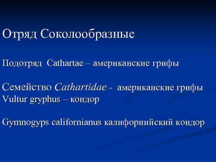 Отряд Соколообразные Подотряд Cathartae – американские грифы Семейство Cathartidae - американские грифы Vultur gryphus