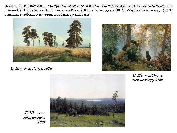 Пейзажи И.  Шишкина – это природа богатырского народа. Именно русский лес был любимой
