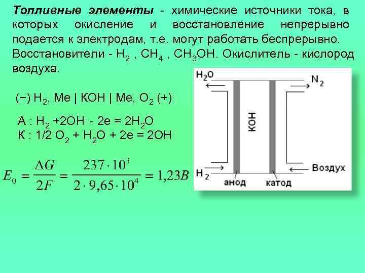 Топливные элементы - химические источники тока, в которых окисление и восстановление непрерывно подается к