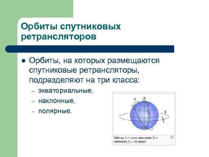 Орбиты спутниковых ретрансляторов l  Орбиты, на которых размещаются спутниковые ретрансляторы,  подразделяют на
