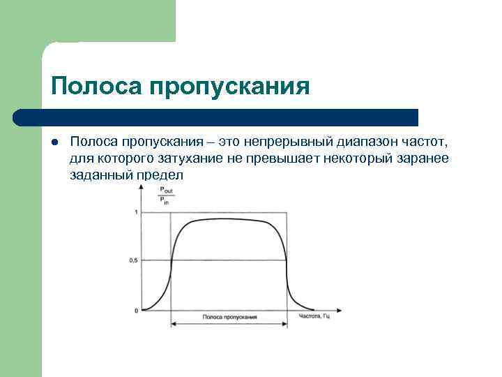 Полоса пропускания l  Полоса пропускания – это непрерывный диапазон частот,  для которого