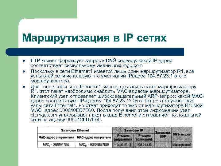 Маршрутизация в IP сетях l  FTP клиент формирует запрос к DNS серверу: какой