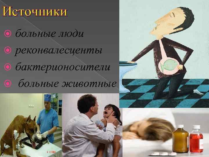 Источники  больные люди  реконвалесценты  бактерионосители  больные животные