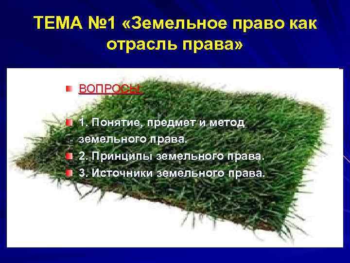 ТЕМА № 1 «Земельное право как  отрасль права»  ВОПРОСЫ:  1. Понятие,