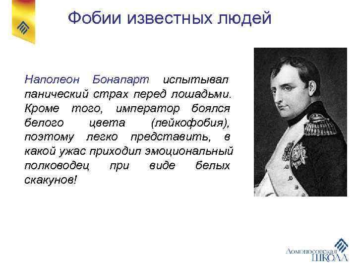 Фобии известных людей  Наполеон Бонапарт испытывал панический страх перед лошадьми. Кроме