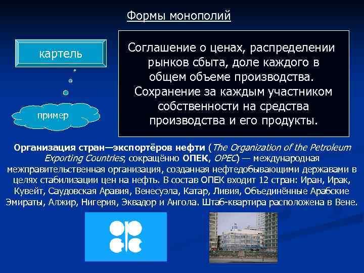 Формы монополий      Соглашение о