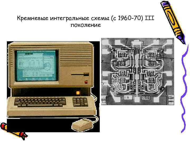 Кремневые интегральные схемы (с 1960 -70) III   поколение