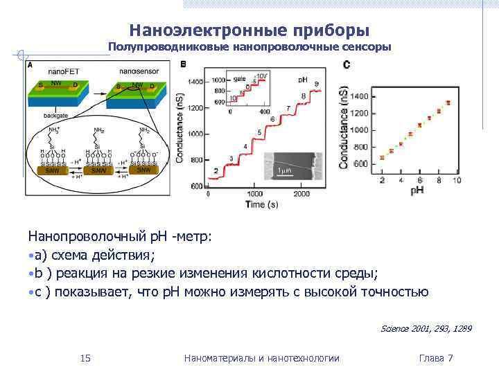 Наноэлектронные приборы   Полупроводниковые нанопроволочные сенсоры Нанопроволочный p. H