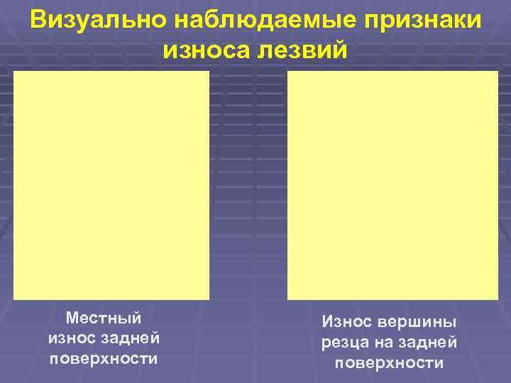 Визуально наблюдаемые признаки   износа лезвий  Местный   Износ вершины износ
