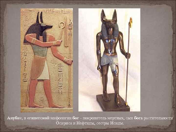 Анубис, в египетской мифологии бог - покровитель мертвых, сын бога растительности Осириса и Нефтиды,