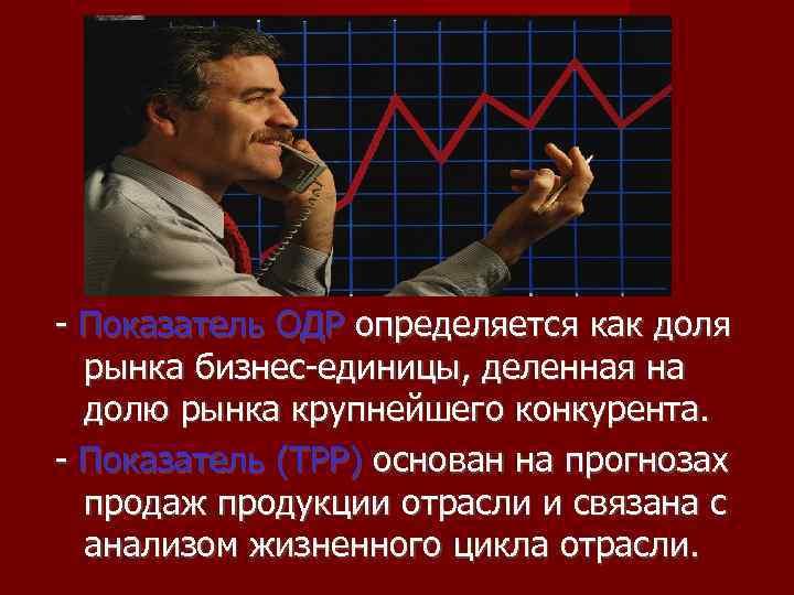 - Показатель ОДР определяется как доля  рынка бизнес-единицы, деленная на  долю рынка