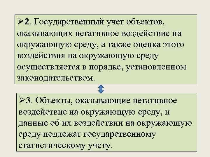Ø 2. Государственный учет объектов, оказывающих негативное воздействие на окружающую среду, а также оценка