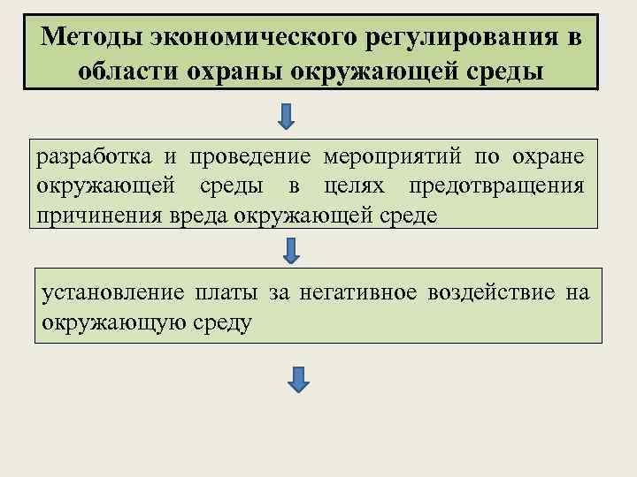 Методы экономического регулирования в области охраны окружающей среды разработка и проведение мероприятий по охране