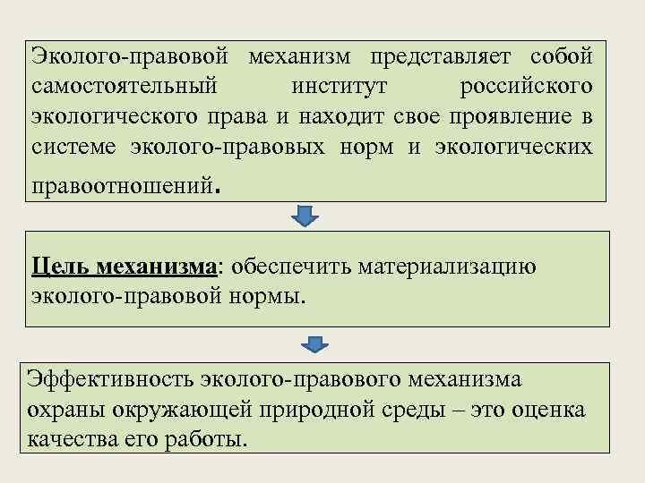 Эколого-правовой механизм представляет собой самостоятельный институт российского экологического права и находит свое проявление в