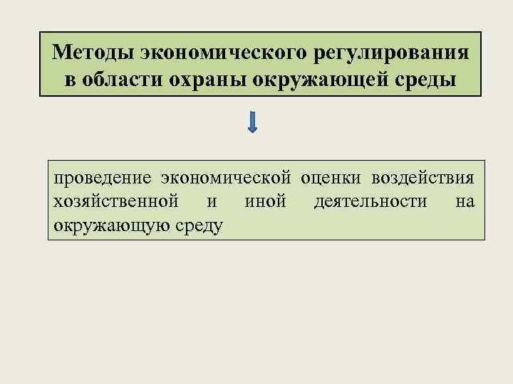 Методы экономического регулирования в области охраны окружающей среды проведение экономической оценки воздействия хозяйственной и