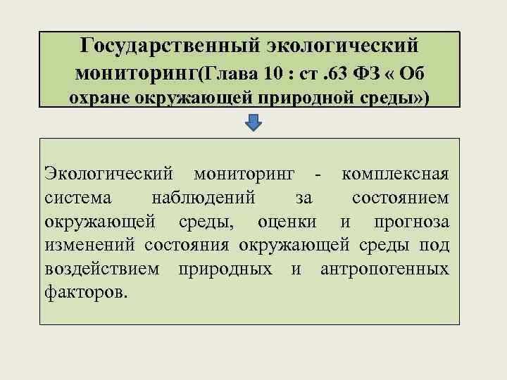 Государственный экологический мониторинг(Глава 10 : ст. 63 ФЗ « Об охране окружающей природной среды»