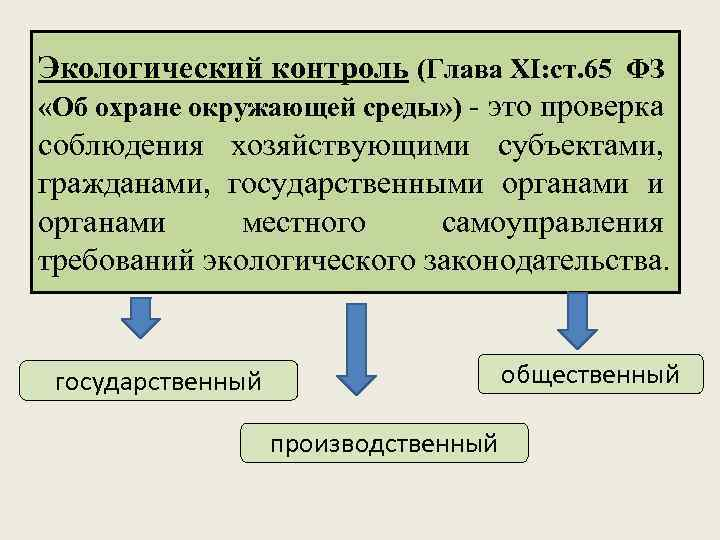Экологический контроль (Глава ХI: ст. 65 ФЗ «Об охране окружающей среды» ) - это