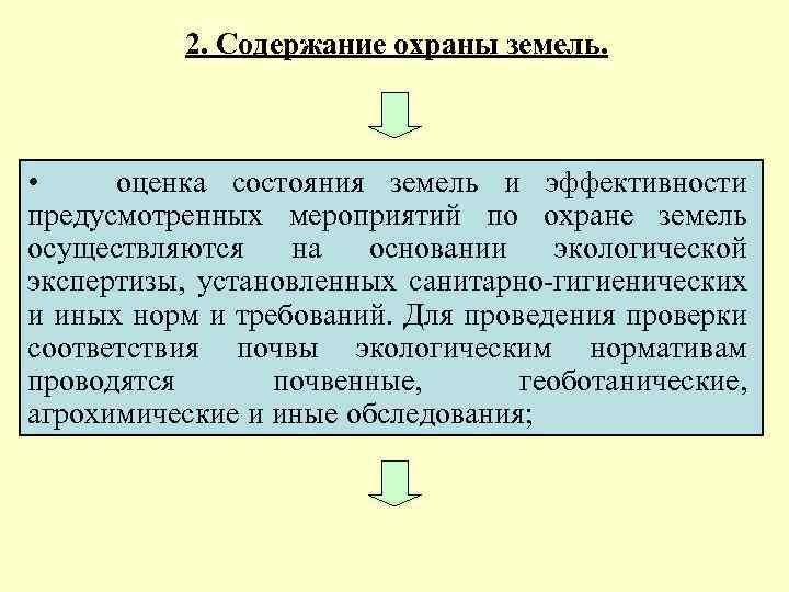 2. Содержание охраны земель. • оценка состояния земель и эффективности предусмотренных мероприятий по охране