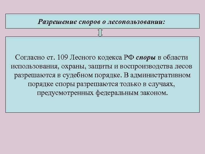 Разрешение споров о лесопользовании: Согласно ст. 109 Лесного кодекса РФ споры в области использования,