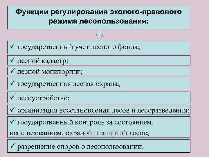 Функции регулирования эколого-правового режима лесопользования: ü государственный учет лесного фонда; ü лесной кадастр; ü