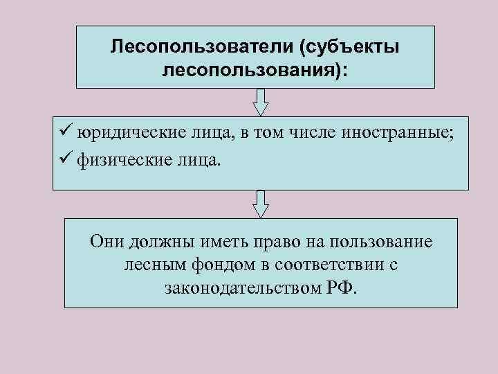 Лесопользователи (субъекты лесопользования): ü юридические лица, в том числе иностранные; ü физические лица. Они