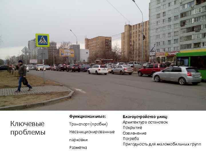 Функциональные:  Благоустройство улиц: Ключевые  Транспорт (пробки)  Архитектура остановок