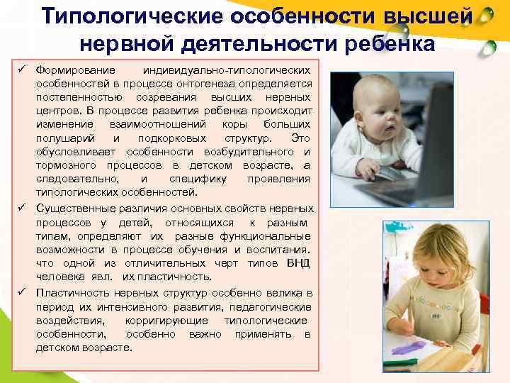Типологические особенности высшей   нервной деятельности ребенка ü Формирование