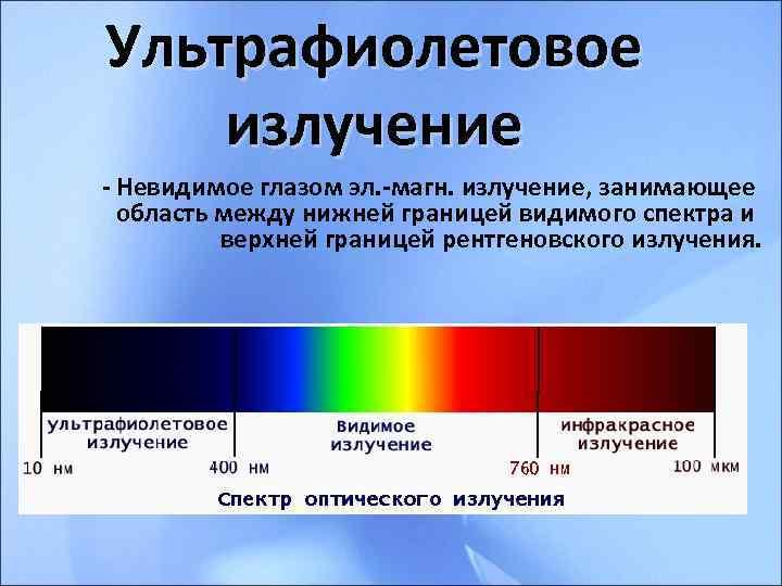 Ультрафиолетовое излучение - Невидимое глазом эл. -магн. излучение, занимающее  область между нижней границей