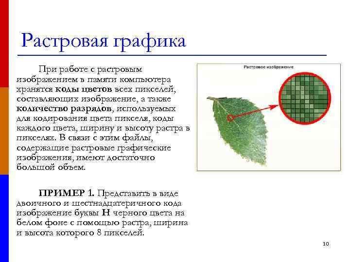 Растровая графика При работе с растровым изображением в памяти компьютера хранятся коды цветов всех