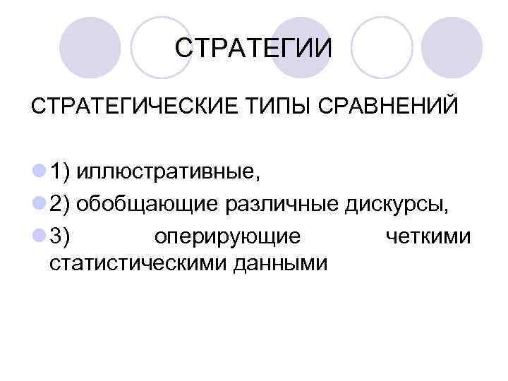 СТРАТЕГИИ СТРАТЕГИЧЕСКИЕ ТИПЫ СРАВНЕНИЙ l 1) иллюстративные, l 2) обобщающие различные дискурсы,