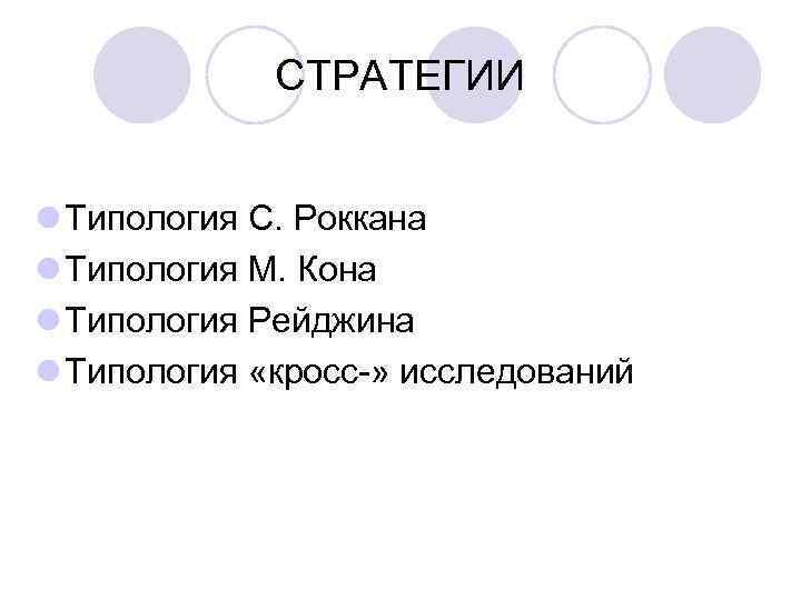 СТРАТЕГИИ  l Типология С. Роккана l Типология М. Кона l