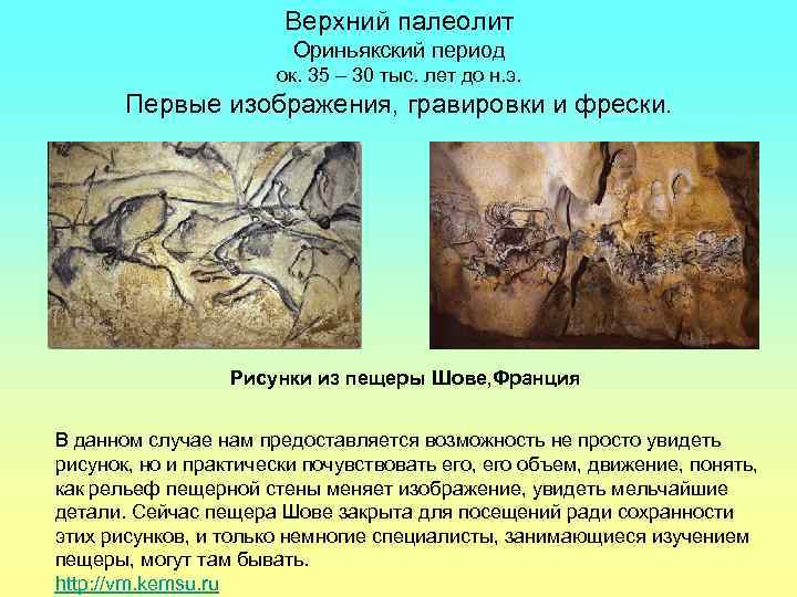 Верхний палеолит     Ориньякский период