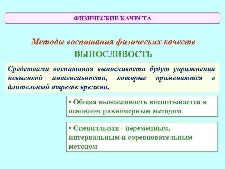 ФИЗИЧЕСКИЕ КАЧЕСТА  Методы воспитания физических качеств