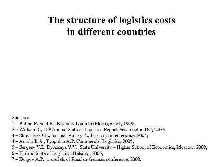 The structure of logistics costs     in different
