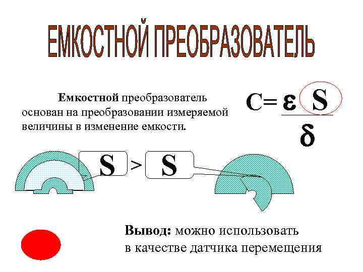 Емкостной преобразователь основан на преобразовании измеряемой    С= S
