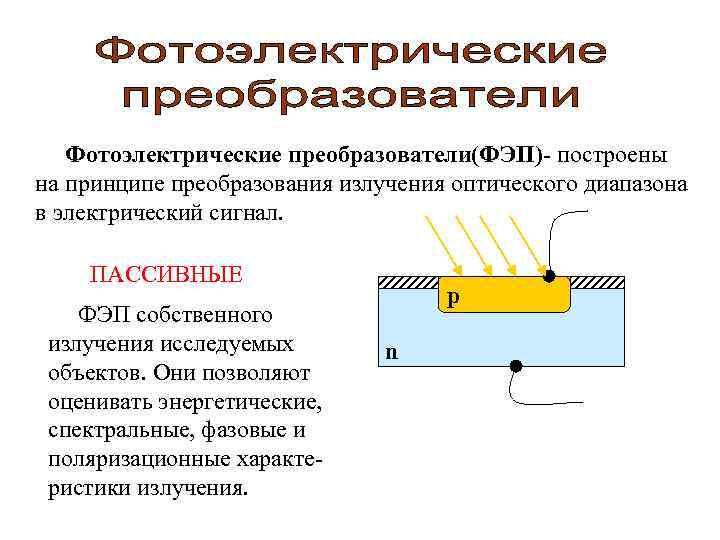 Фотоэлектрические преобразователи(ФЭП)- построены на принципе преобразования излучения оптического диапазона в электрический сигнал.