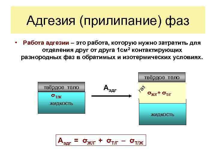 Адгезия (прилипание) фаз • Работа адгезии – это работа, которую нужно затратить