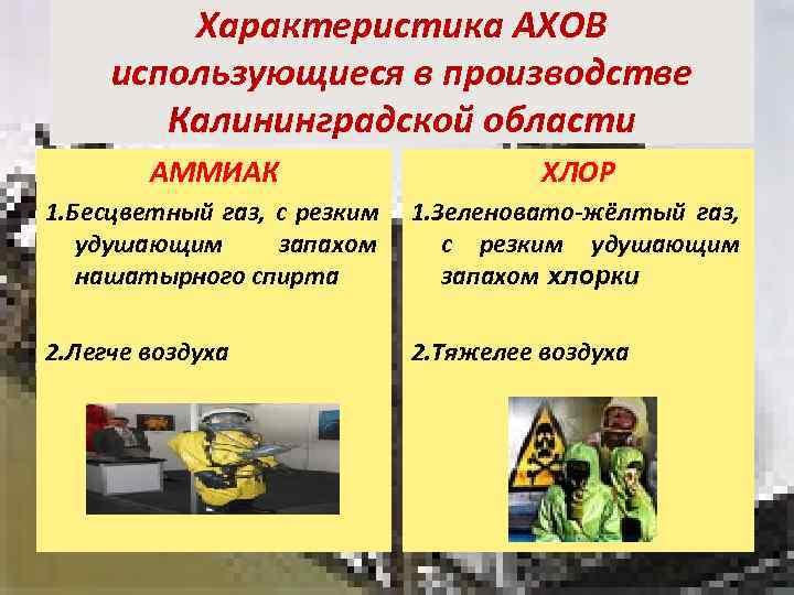 Характеристика АХОВ использующиеся в производстве   Калининградской области