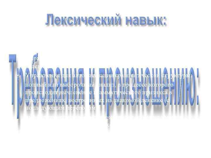 I этап: введение новой грамматической структуры; II этап: автоматизация грамматической структуры:  Упражнения на