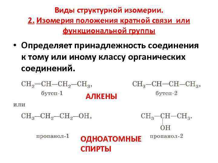 Виды структурной изомерии. 2. Изомерия положения кратной связи или