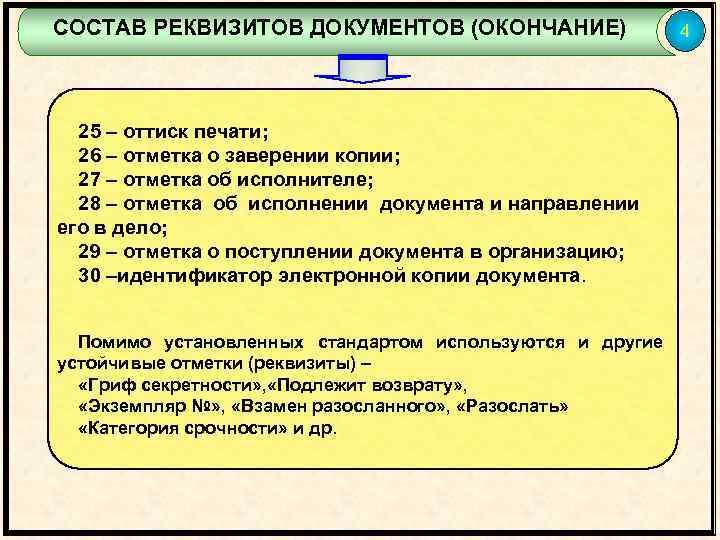 СОСТАВ РЕКВИЗИТОВ ДОКУМЕНТОВ (ОКОНЧАНИЕ)   4  25 – оттиск печати;  26