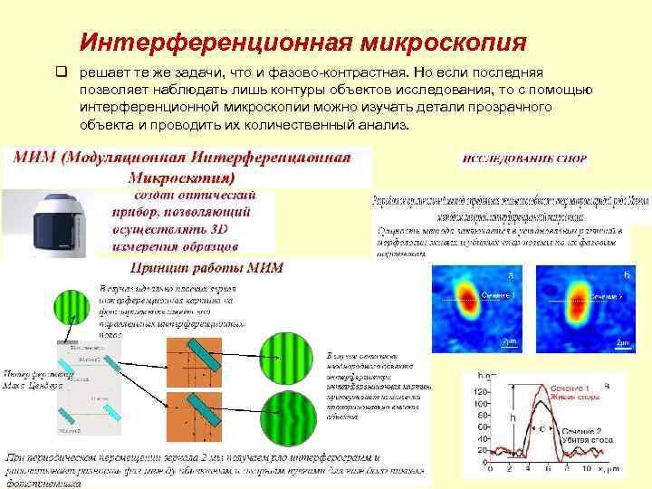 Интерференционная микроскопия q решает те же задачи, что и фазово-контрастная. Но если