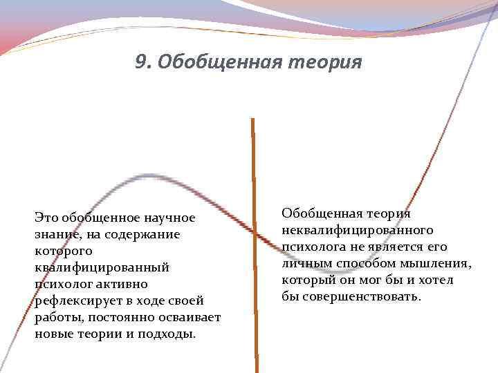 9. Обобщенная теория Это обобщенное научное   Обобщенная теория знание,