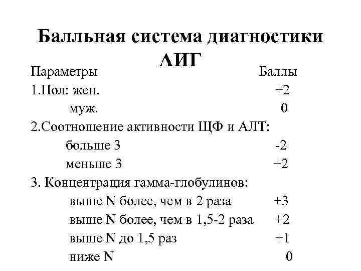 Балльная система диагностики АИГ Параметры Баллы 1. Пол: жен. +2 муж. 0 2. Соотношение