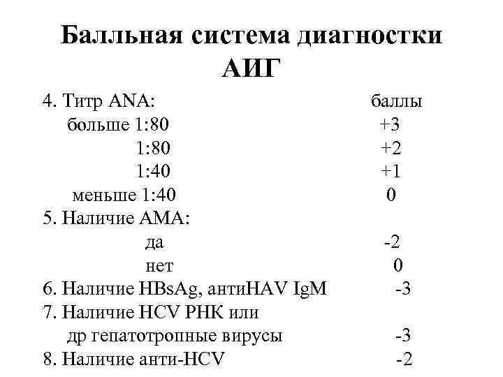 Балльная система диагностки АИГ 4. Титр ANA: баллы больше 1: 80 +3 1: 80