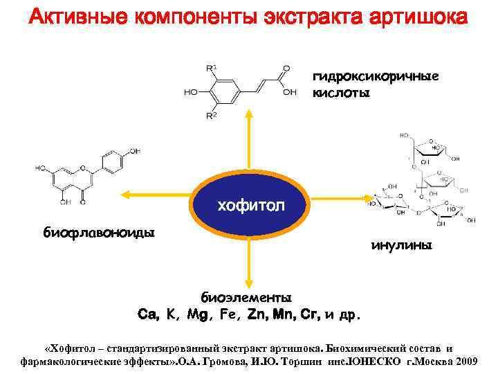 Активные компоненты экстракта артишока гидроксикоричные кислоты хофитол биофлавоноиды инулины биоэлементы Ca, K, Мg, Fe,