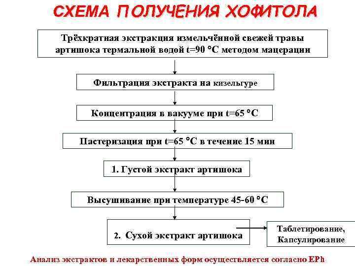 СХЕМА ПОЛУЧЕНИЯ ХОФИТОЛА Трёхкратная экстракция измельчённой свежей травы артишока термальной водой t=90 C методом