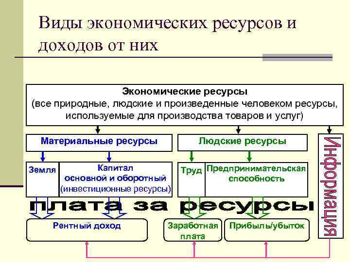 Виды экономических ресурсов и доходов от них Экономические ресурсы (все природные, людские и произведенные